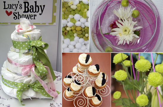 baby shower decorations - nappy cake, flowers, cupcakes and sweets